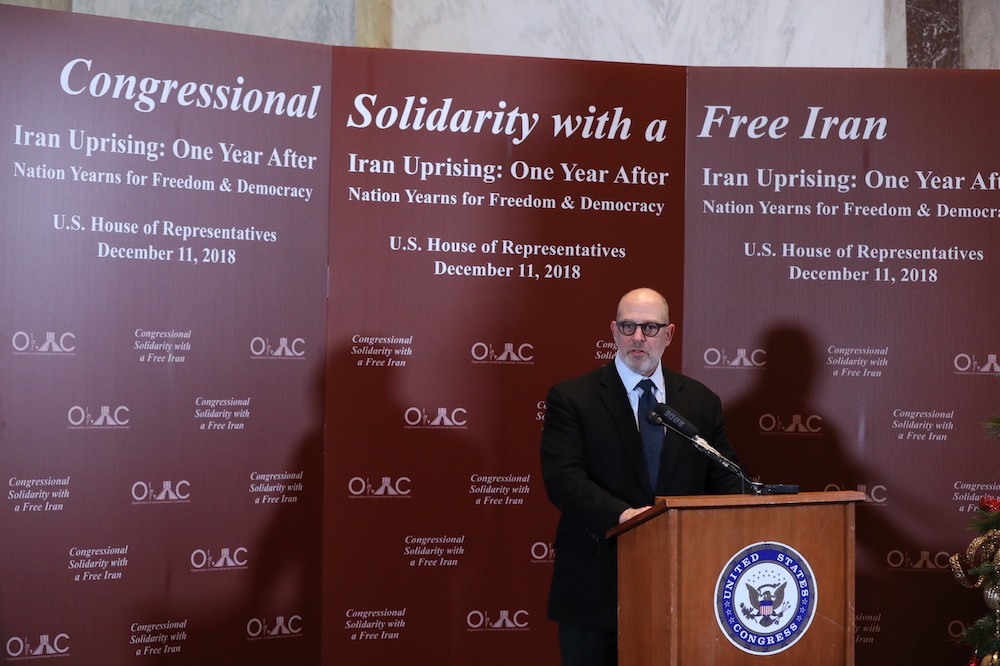 Adam Ereli, the former US Ambassador to Bahrain, addresses the event titled Congressional Solidarity With a Free Iran. (Supplied)