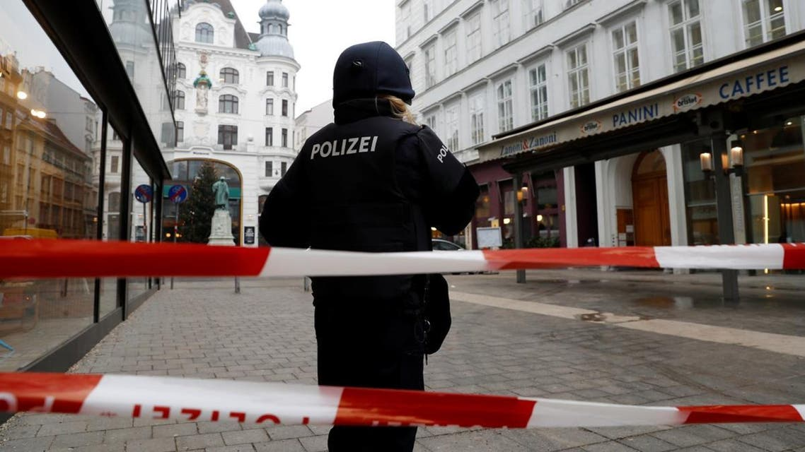 Police secure the area after shots were fired in a restaurant in Vienna. (Reuters)