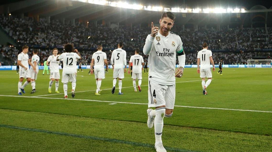 Real Madrid's Sergio Ramos celebrates scoring their third goal. (Reuters)