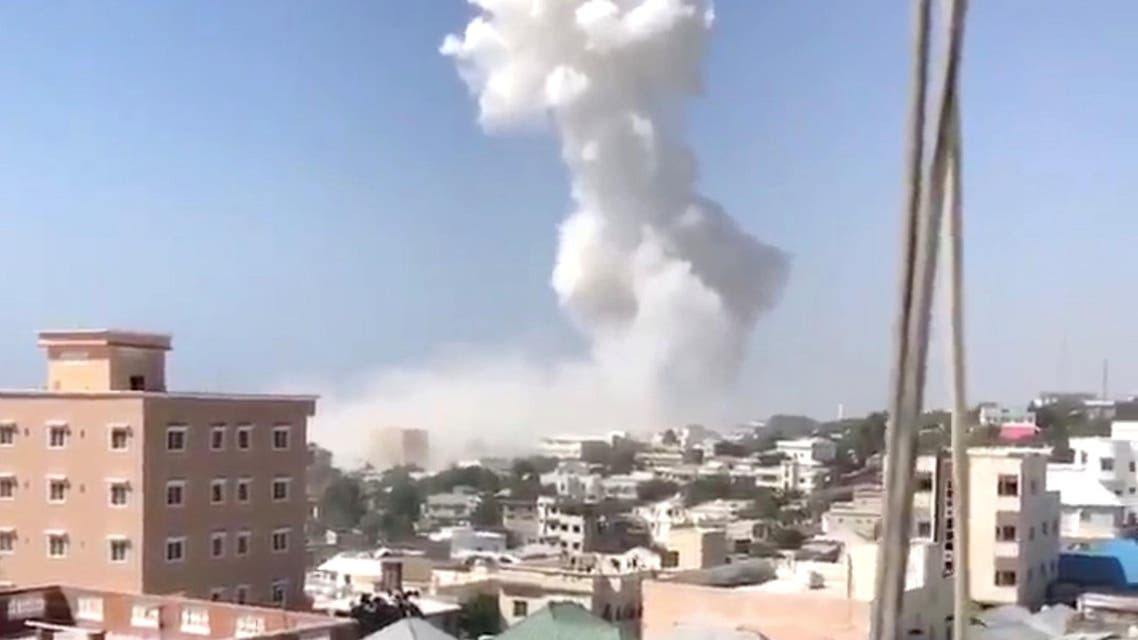 Smoke rises after an explosion in Mogadishu, Somalia December 22, 2018 in this still image taken from social media video. Twitter/Halima