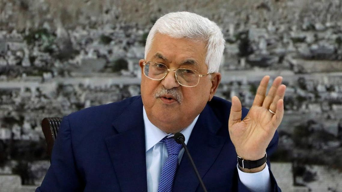 Palestinian President Mahmoud Abbas gestures during a meeting with the Palestinian leadership in Ramallah. (Reuters)