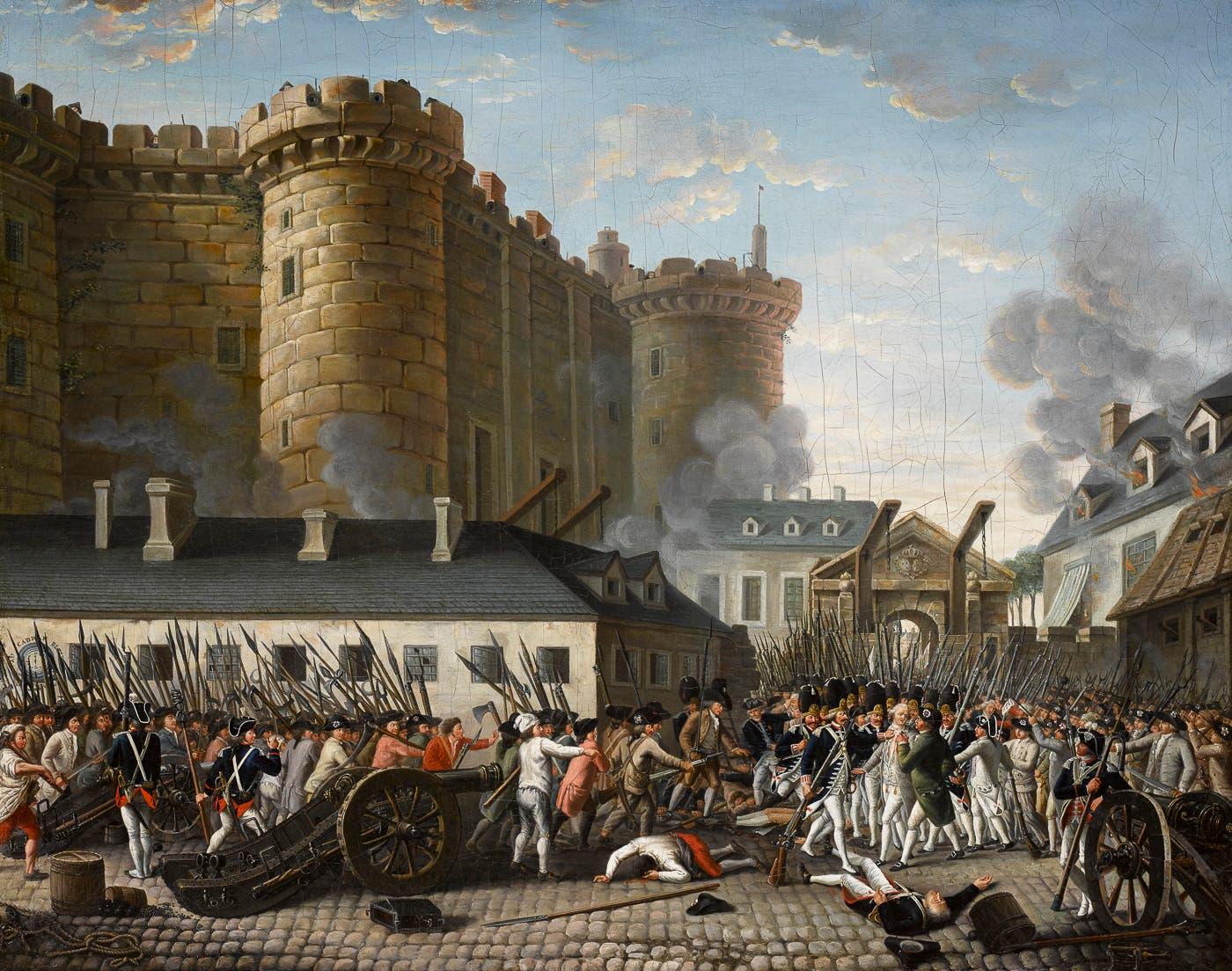 لوحة تجسد حادثة هجوم أهالي باريس على سجن الباستيل