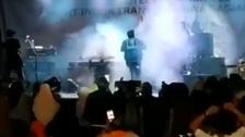 Shocking video: Tsunami rips through stage as band performs