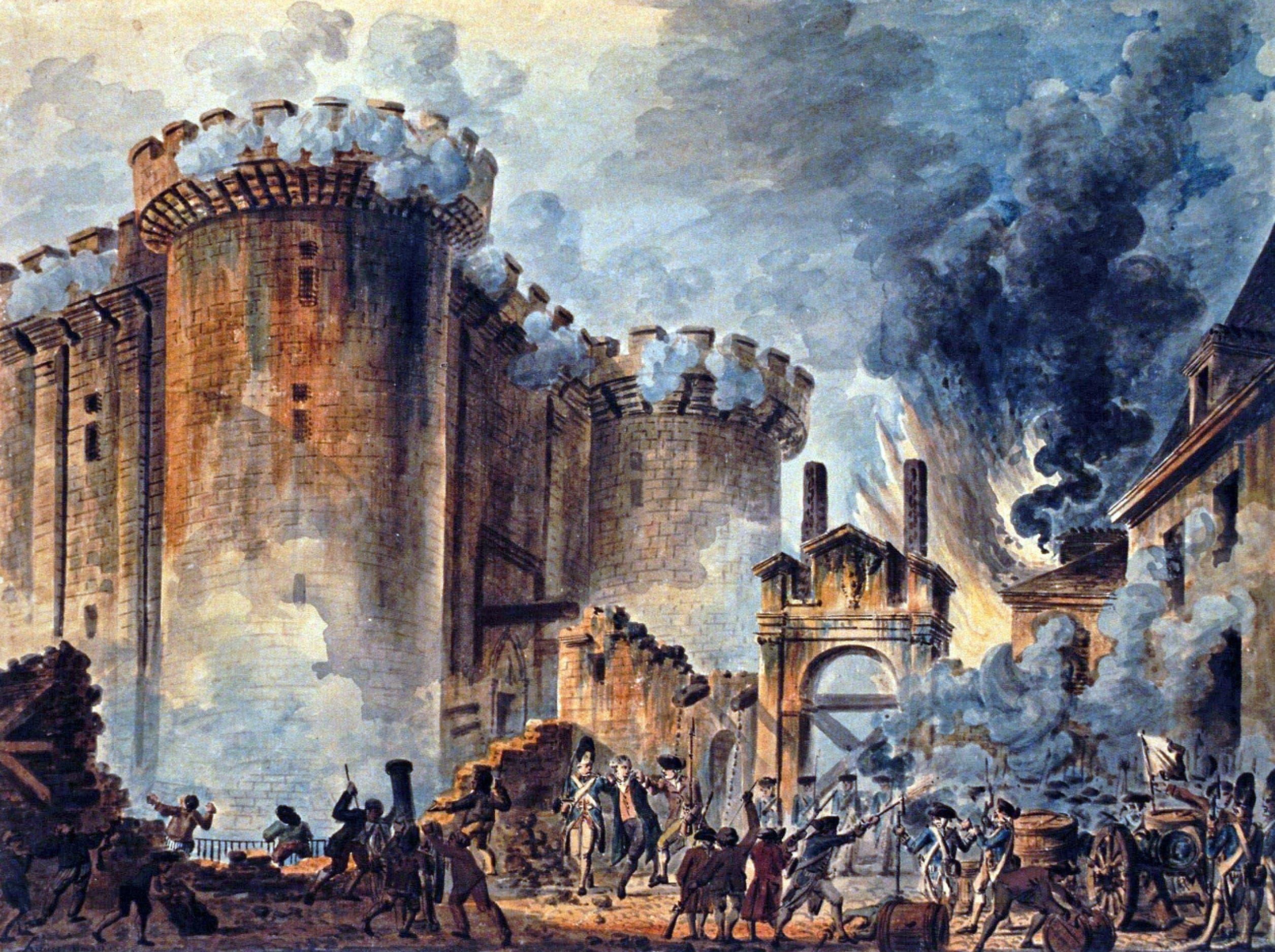 لوحة تجسد سقوط سجن الباستيل في قبضة أهالي باريس