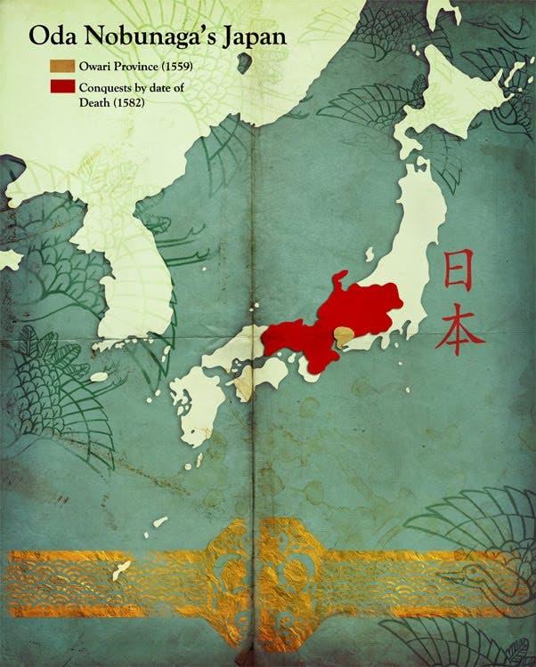 خريطة تبرز أهم المناطق الخاضعة لسلطة أودا نوبوناغا قبل وفاته
