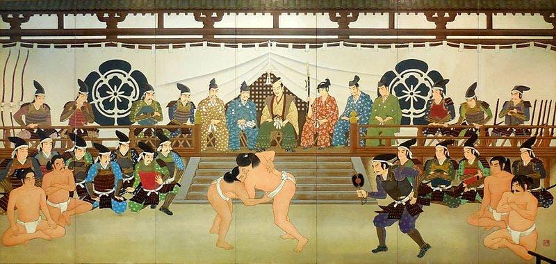 أودا نوبوناغا في الوسط خلال مشاهدته لمقابلة سومو