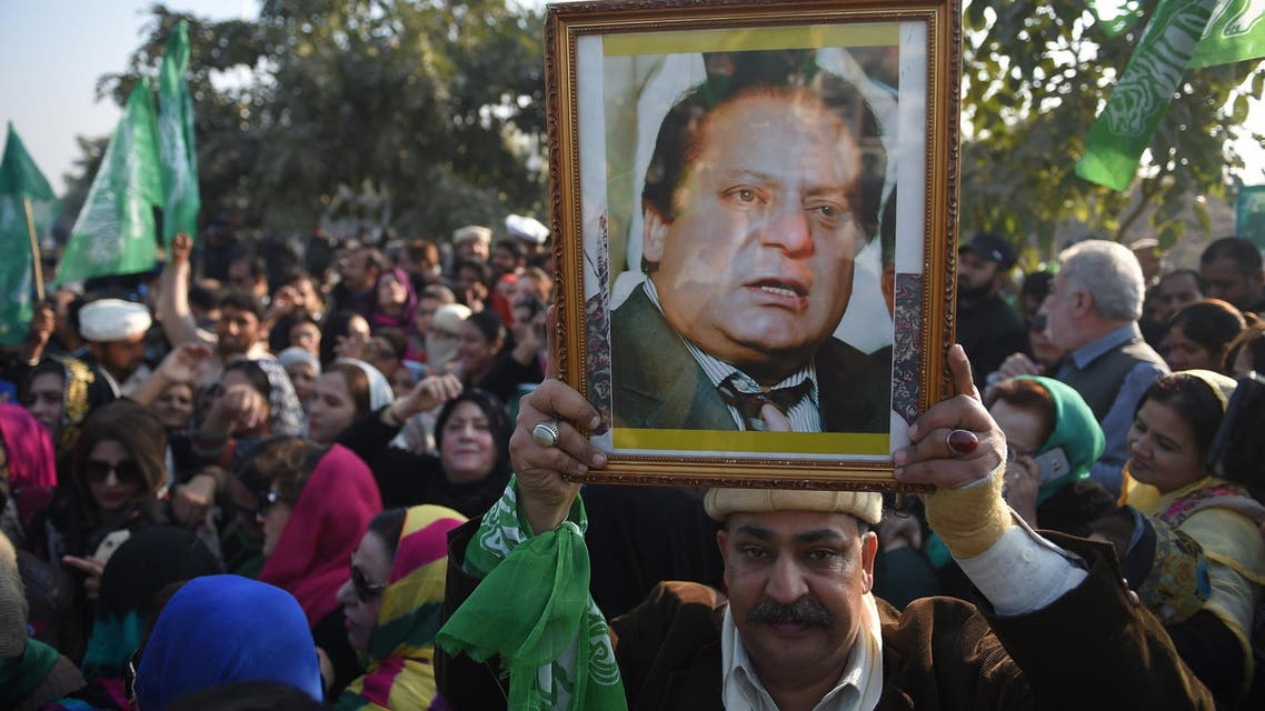 Supporters of Nawaz Sharif gather outside the anti-corruption court in Islamabad on December 24, 2018. (AFP)