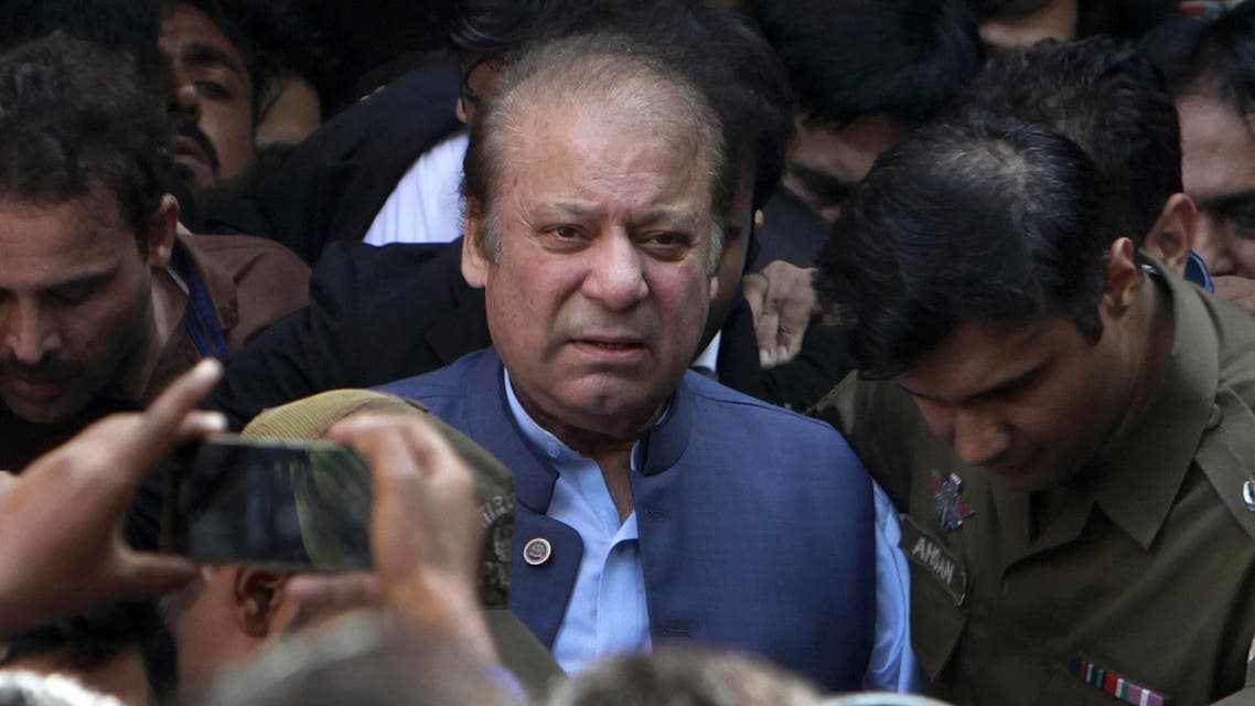 Nawaz Sharif leaves after appearing in a court in Lahore on Oct. 8, 2018. (AP)