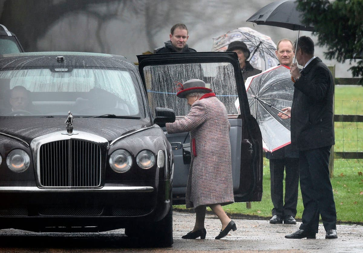 Britain's Queen Elizabeth leaves after attending the morning church service at St Mary Magdalene Church in Sandringham, England, Sunday, Dec. 23, 2018.. (AP)