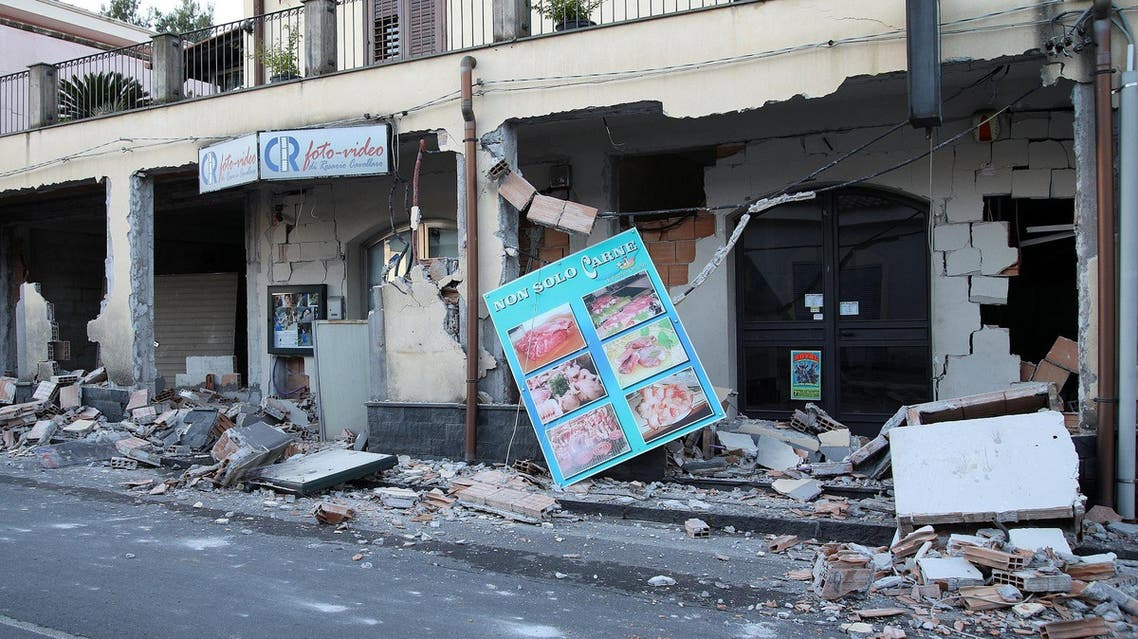 Shops are seen damaged by the earthquake at the area north of Catania on the slopes of Mount Etna in Sicily on December 26, 2018. (Reuters)