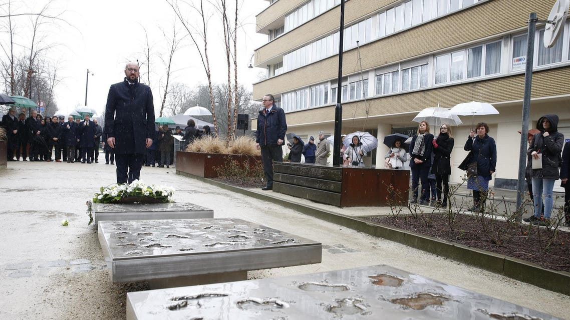 Belgian Prime Minister Charles Michel lays a wreath to mark the anniversary of the 2016 terrorist attacks in Brussels on March 22, 2018. (AFP)