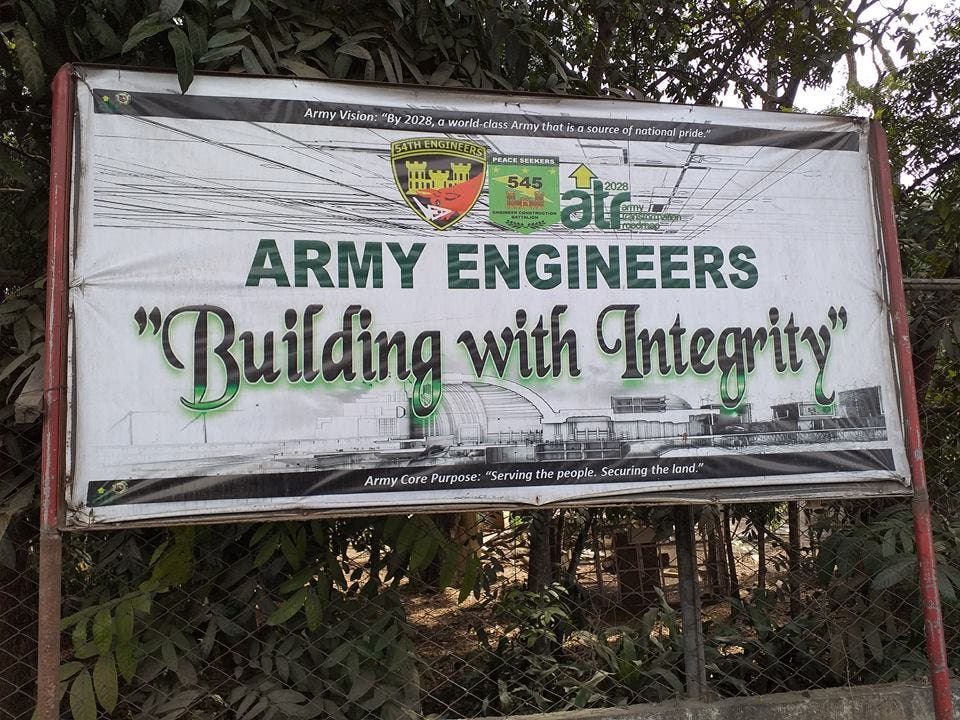 A banner of the Army engineers who are at the forefront of this campaign. (Supplied)