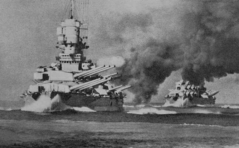 صورة لعدد من البوارج الحربية الإيطالية خلال الحرب العالمية الثانية