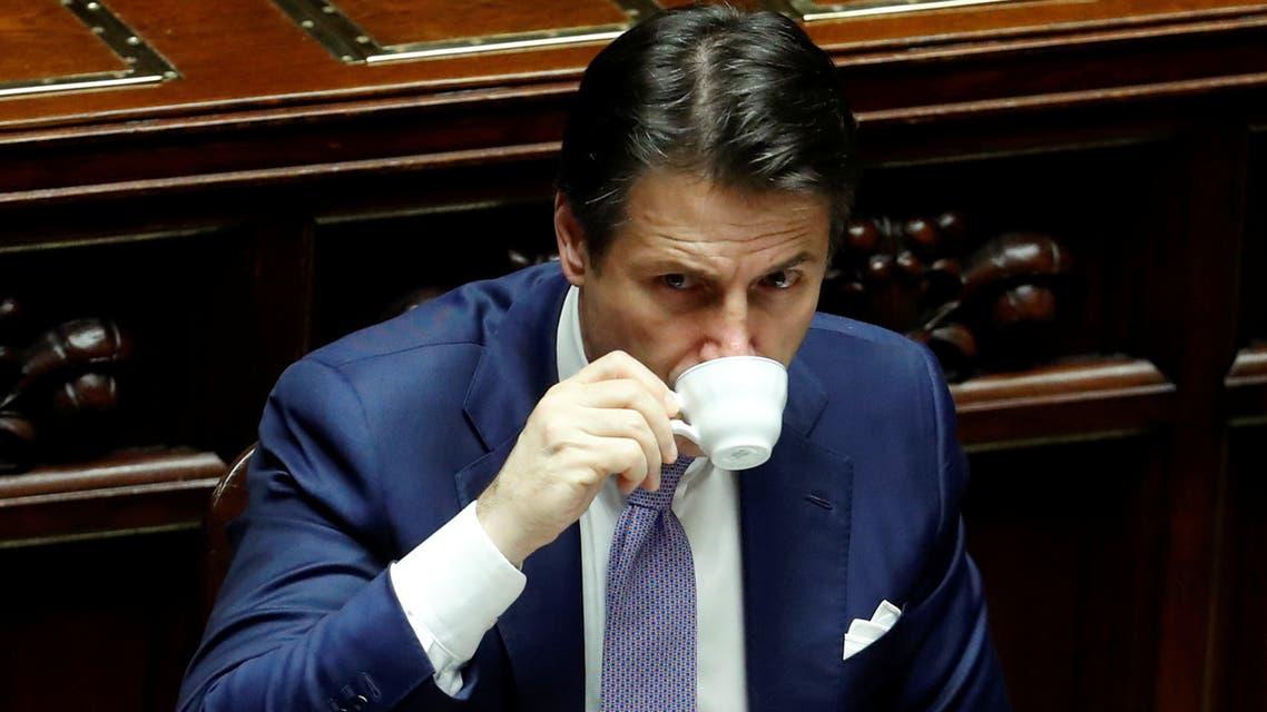 رئيس الوزراء الإيطالي جوزيبي كونتي لدى حضوره التصويت النهائي بشأن ميزانية 2019 في البرلمان بروما.