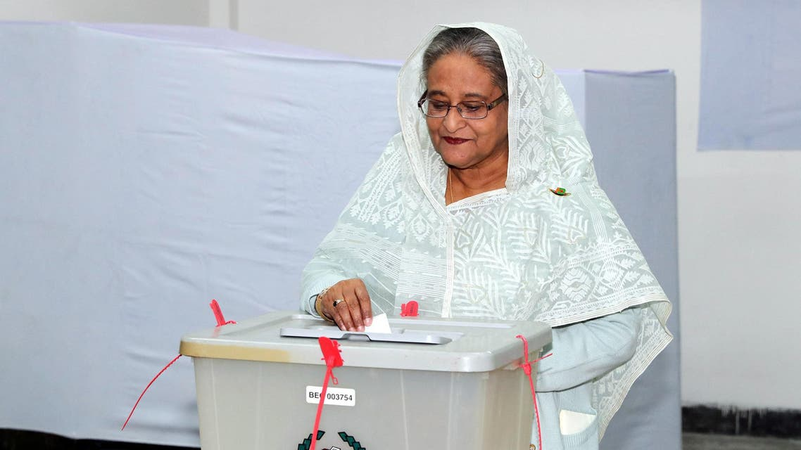 Prime Minister Sheikh Hasina casts her vote in Dhaka on December 30, 2018. (Reuters)