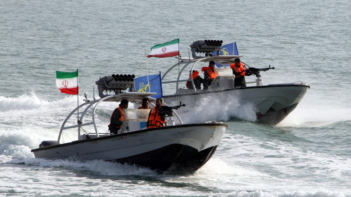 IRGs drive speedboats at the port of Bandar Abbas on July 2, 2012. (AFP)