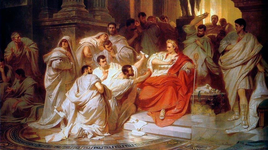 لوحة زيتية تجسد حادثة اغتيال يوليوس قيصر