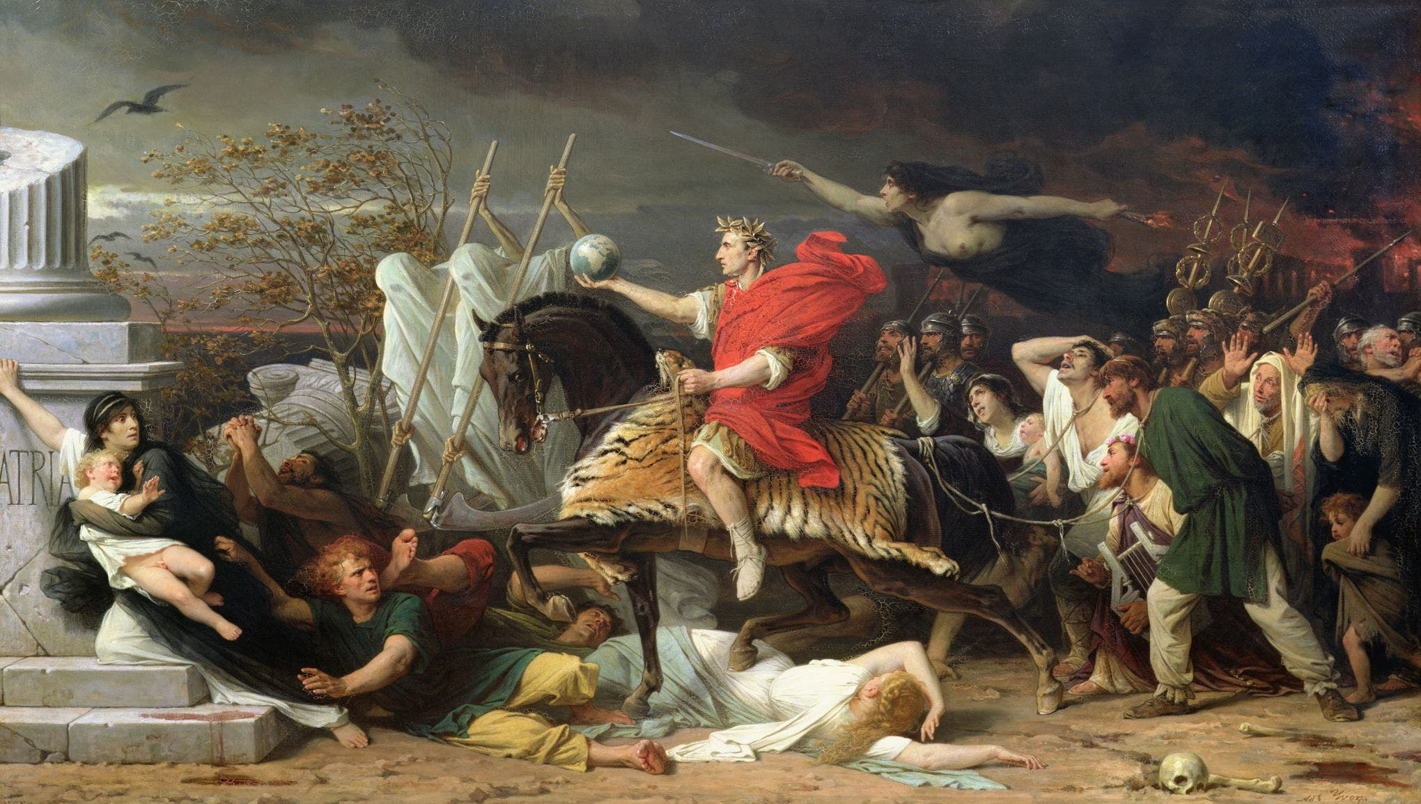 لوحة زيتية تخلد نصر يوليوس قيصر وعبوره للروبيكون وعودته نحو روما
