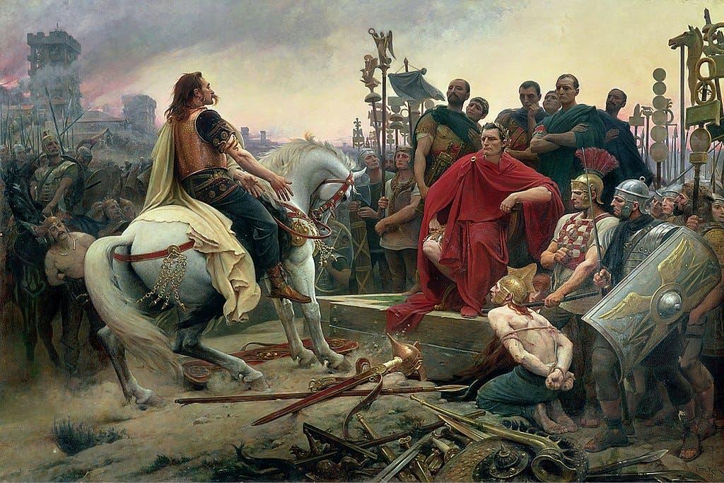 لوحة زيتية تجسد استسلام فارسانجيتوريكس أمام يوليوس قيصر