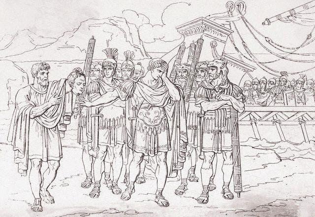 لوحة تجسد عرض رأس بومبيوس الأكبر المقطوعة على يوليوس قيصر