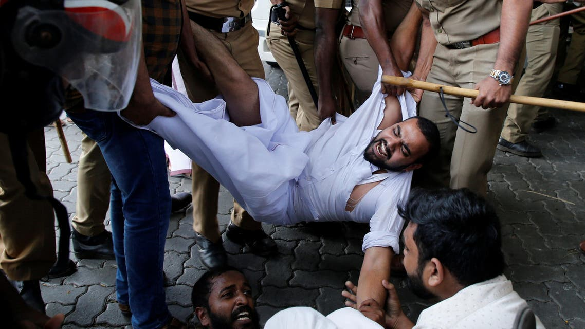 Police remove members of Kerala Students Union as they take part in the protest in Kochi, on January 2, 2019. (Reuters)
