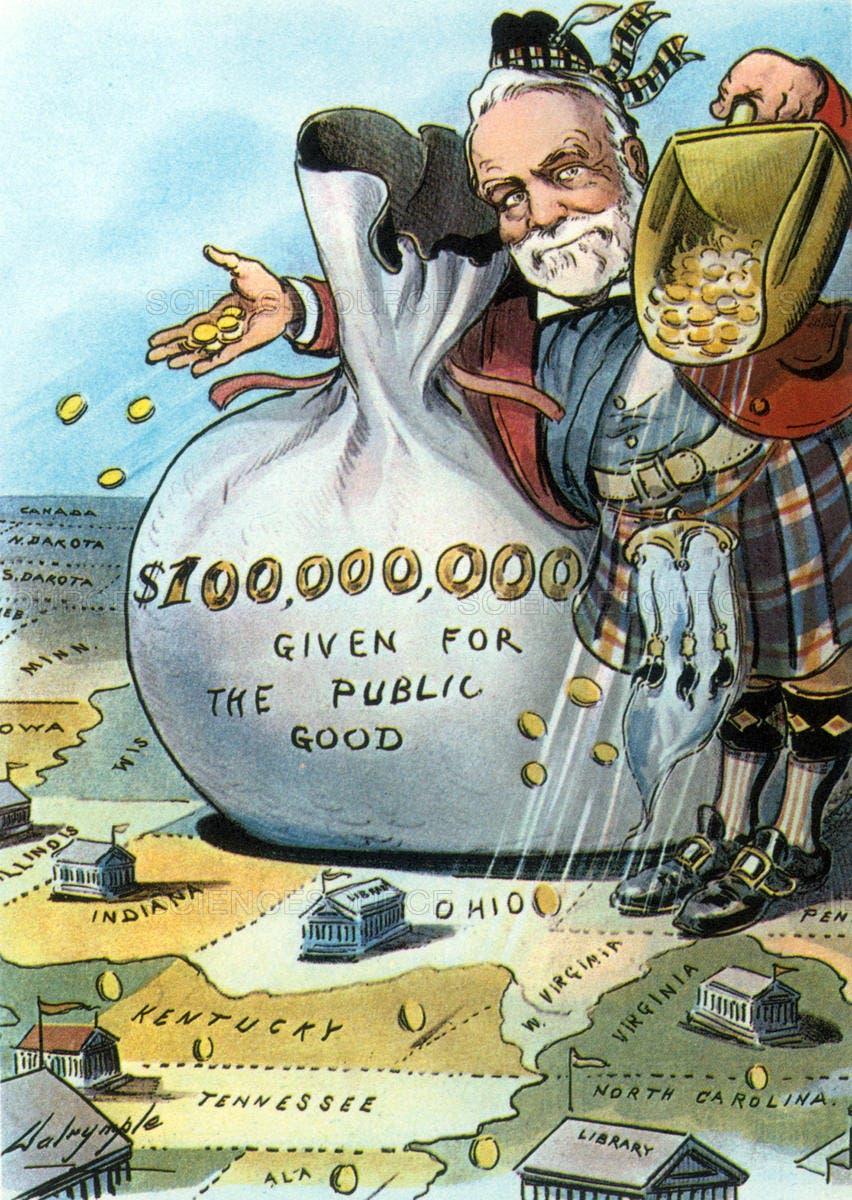 رسم كاريكاتيري ساخر يجسد أندرو كارنيجي خلال دعمه للمشاريع الخيرية