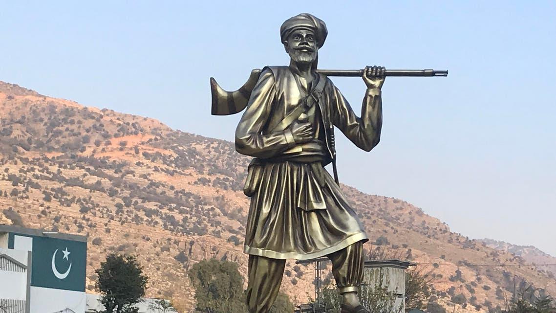 Statue of Ajab Khan Afridi in the main square of Darra Adam Khel. (Supplied)