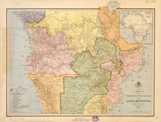 خريطة تبرز ممتلكات البرتغال بإفريقيا ملونة باللون الوردي خلال القرن السابع عشر
