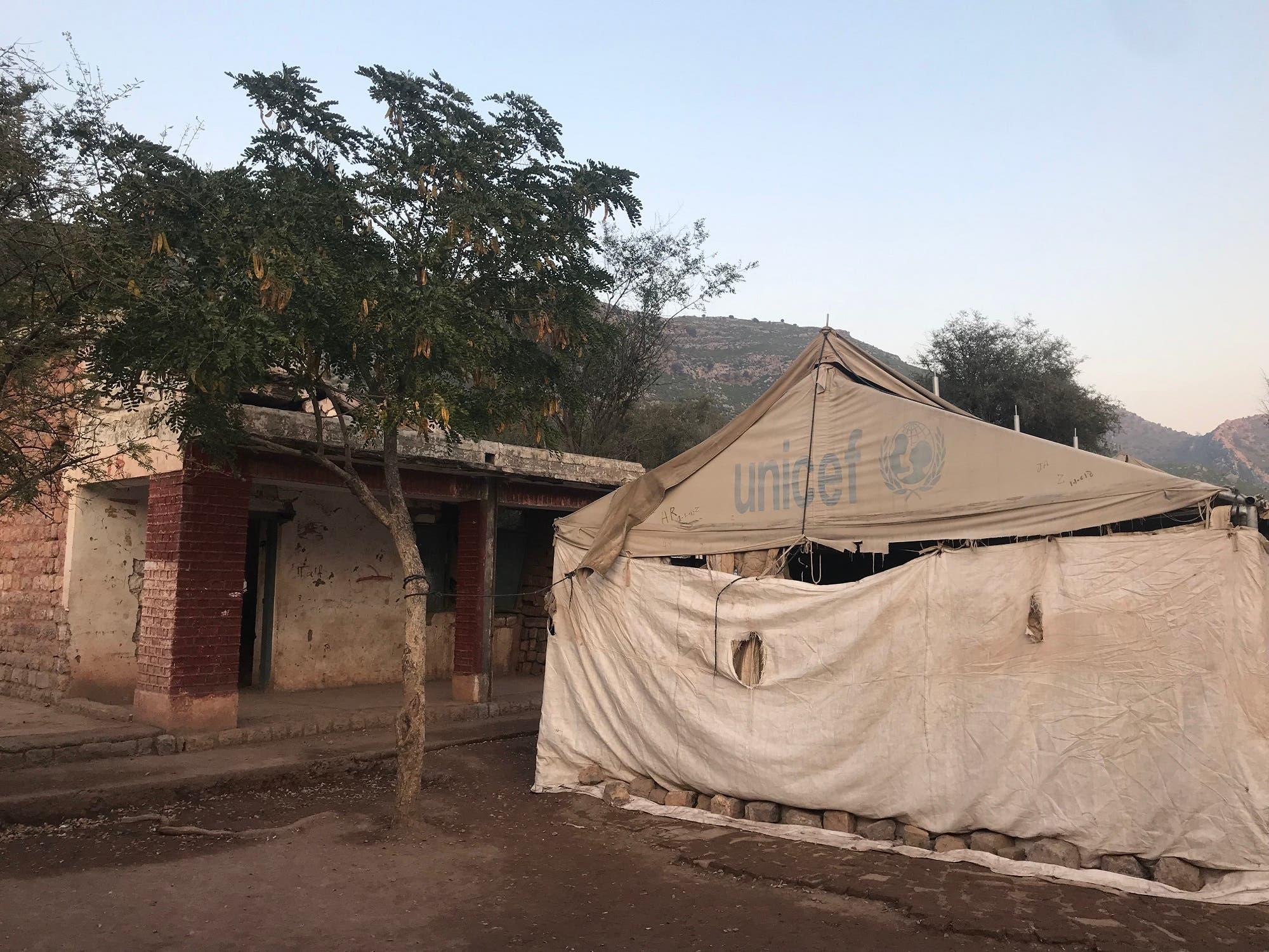 Darra Adam Khel tent school, blown up by militants in 2009. (Supplied)
