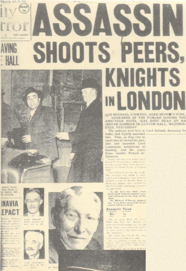 صورة لعناوين احدى الصحف البريطانية التي علّقت على حادثة اغتيال الحاكم السابق للبنجاب مايكل أودوير