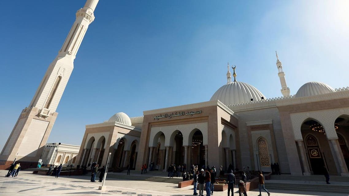 A general view of al-Fattah al-Aleem Mosque in the New Administrative Capital (NAC) east of Cairo. (Reuters)