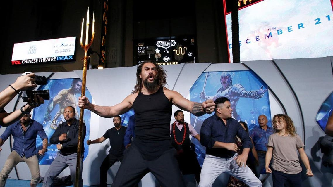 """Cast member Momoa performs a haka dance at the premiere for """"Aquaman"""" in Los Angeles. (Reuters)"""