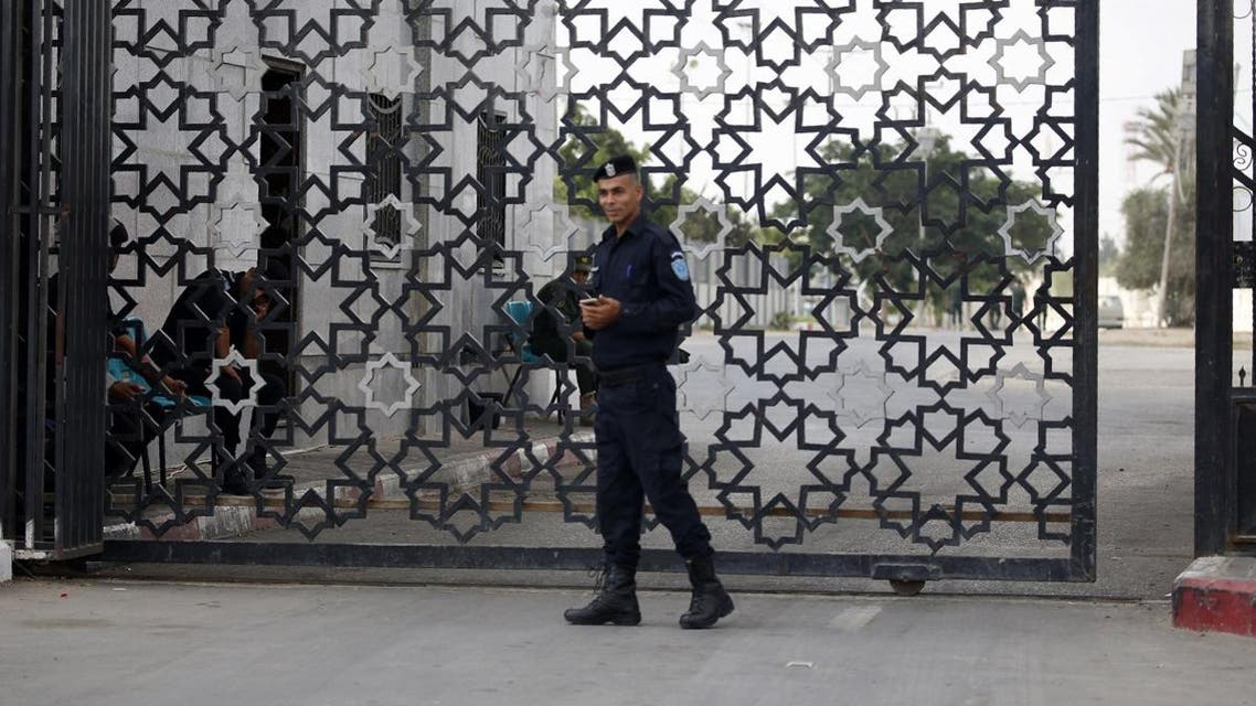 A member of the Palestinian security forces stands guard at the Rafah border crossing with Egypt in the southern Gaza Strip. (AFP)