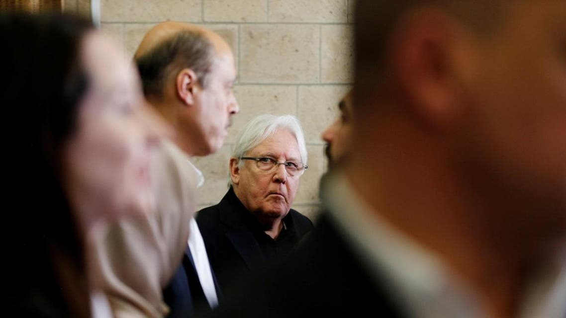 United Nations envoy to Yemen, Martin Griffiths, looks as he talks with assistants upon his arrival at Sanaa airport in Sanaa, Yemen. (Reuters)