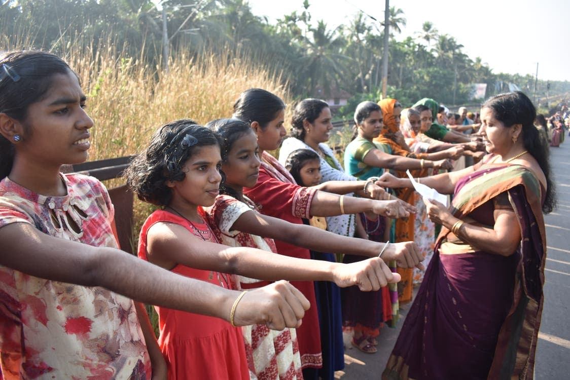 More than 3.5 million women formed a human chain across the south Indian state of Kerala last week as part of a state-sponsored initiative to uphold gender equality. (Supplied)