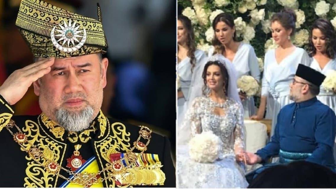 الملك بزيه الرسمي، وعند زواجه بملكة جمال موسكو السابقة