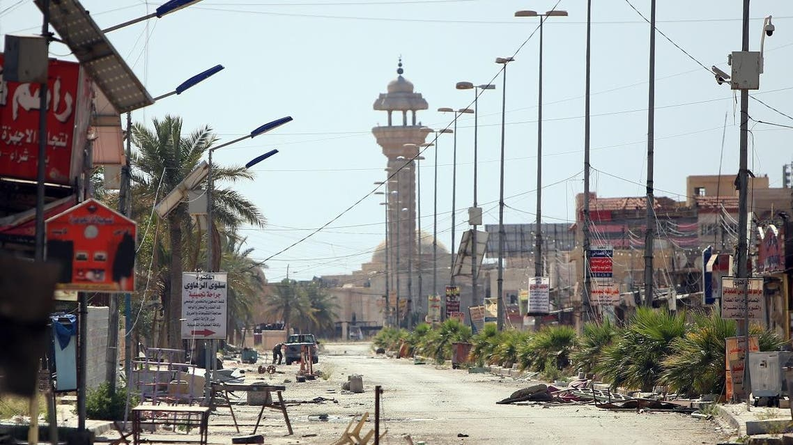 A general view shows a damaged street in the centre of the city of Tikrit on April 15, 2015. (File photo: AFP)