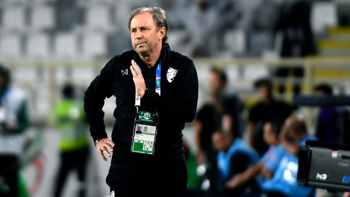 Milovan Rajevac looks on during the 2019 AFC Asian Cup Group A football game between Thailand and India. (AFP)