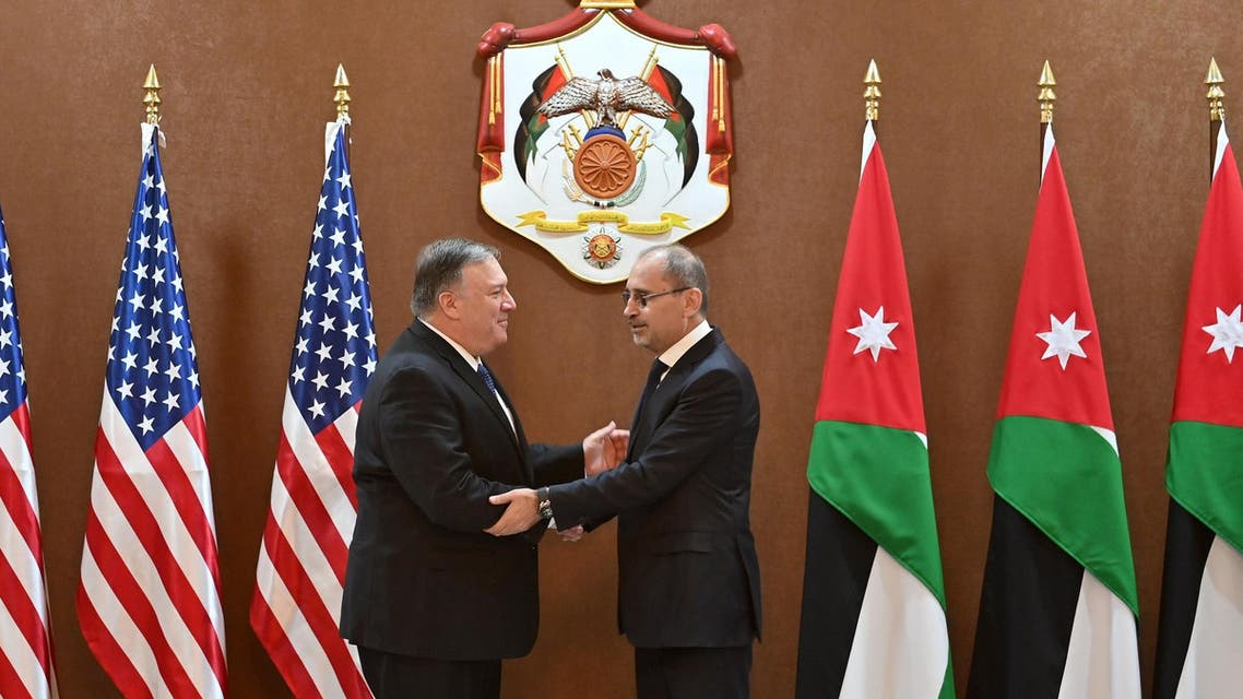 US Secretary of State Mike Pompeo meets with Jordanian Foreign Minister Ayman Safadi. (AFP)