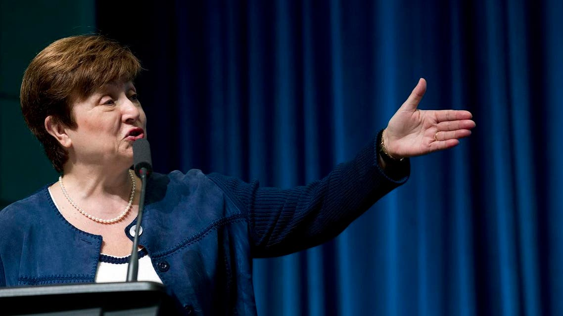 The World Bank CEO Kristalina Georgieva speaks during the forum Frontiers in Anticorruption at the World Bank/IMF annual spring meeting on April 18, 2018, in Washington. (AP)