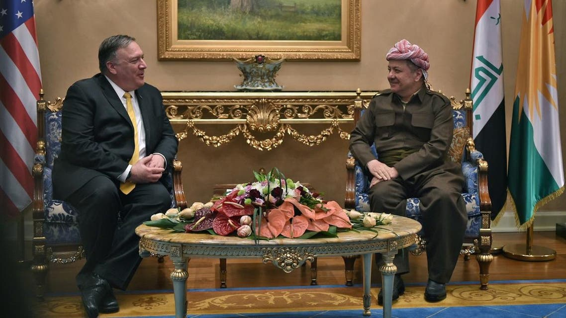 Pompeo and Massud Barzani leader of the Kurdistan Democratic Party (KDP) (AFP)