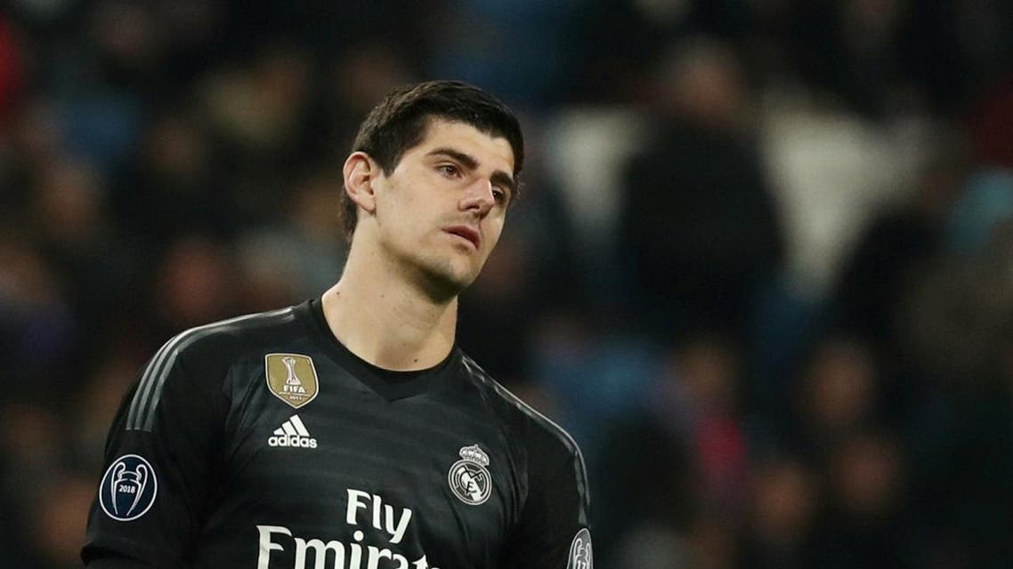 Real Madrid's Thibaut Courtois reacts during a game. (Reuters)