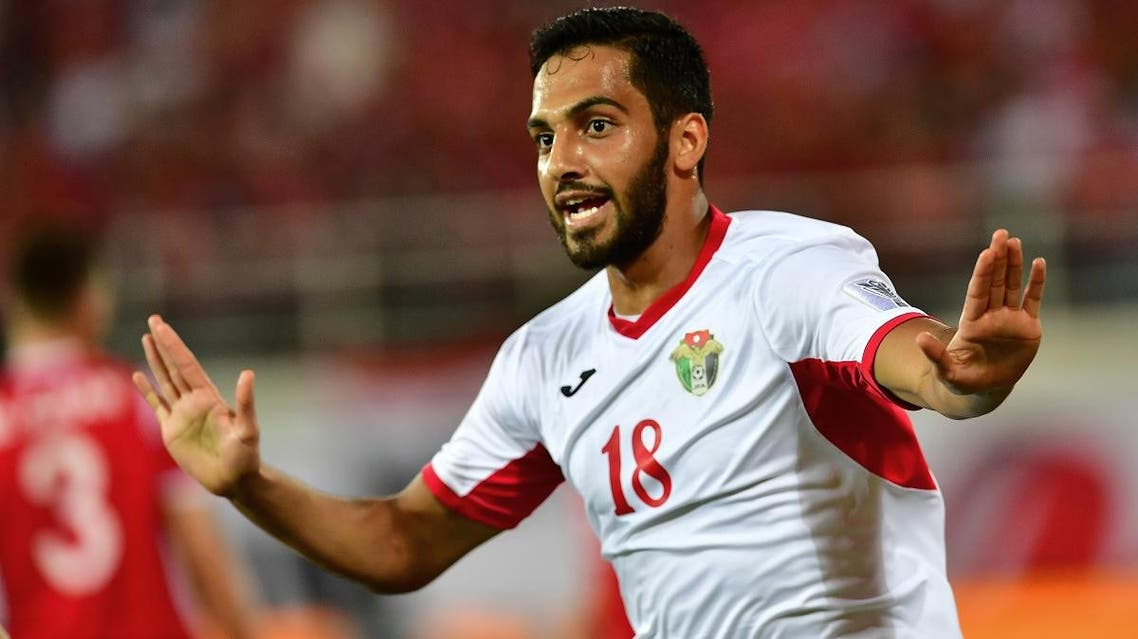 Jordan's forward Mousa Suleiman celebrates his goal during the 2019 AFC Asian Cup group B football match between Jordan and Syria in Al Ain on January 10, 2019. (AFP)