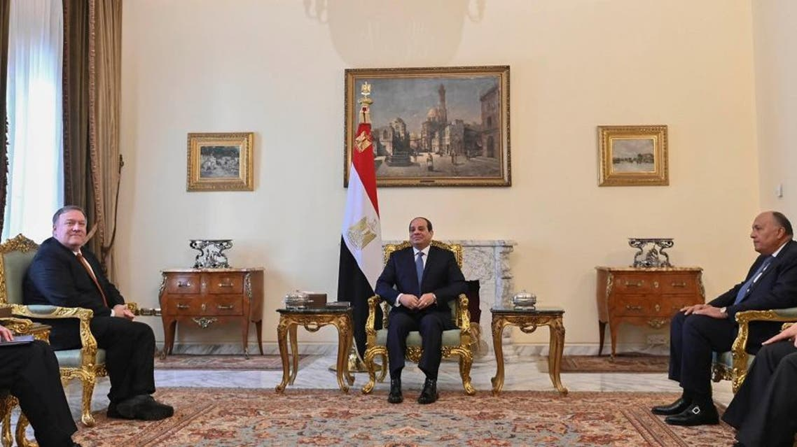 US Secretary of State Mike Pompeo meets with Egyptian President Abdel Fattah al-Sisi in Cairo, Egypt, on January 10, 2019. (Reuters)