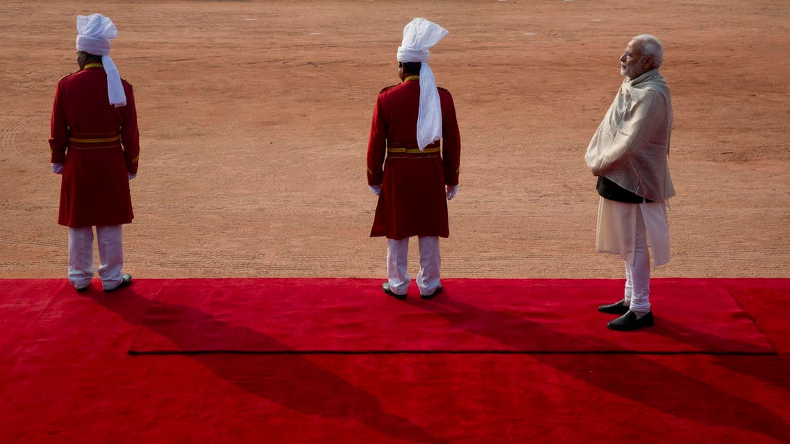 Prime Minister Modi, right, at the Indian presidential palace in New Delhi on Dec. 28, 2018. (AP)