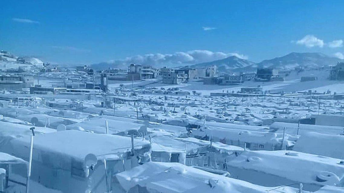 Syrian refugee camp in Arsal following Storm Norma. (Twitter)