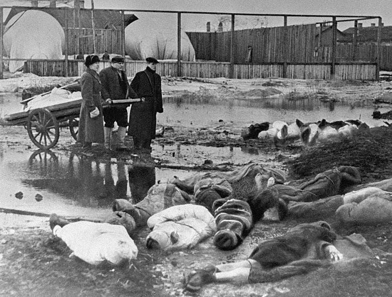 صورة لجثث مدنيين سوفييت قتلوا بسبب القصف الألماني على لينينغراد