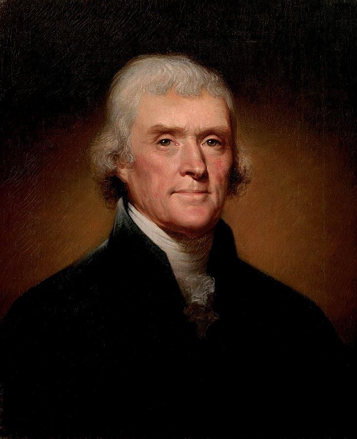 صورة لتوماس جيفرسون ثالث رئيس في تاريخ الولايات المتحدة الأميركية