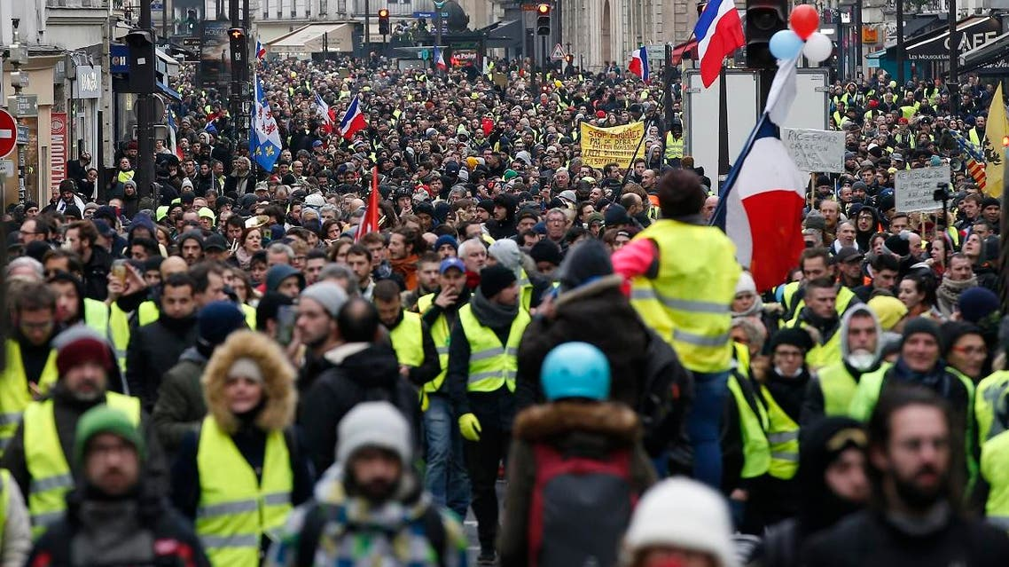 French yellow vest protests 12 Jan. (AP)