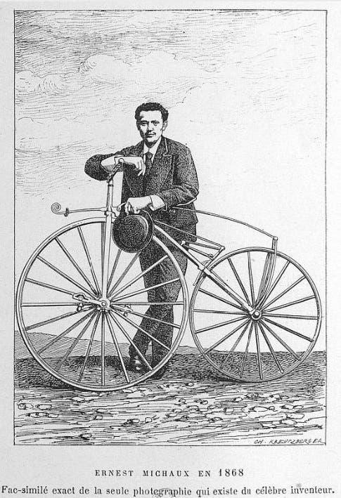 رسم تخيلي للمخترع الفرنسي إرنست ميشو